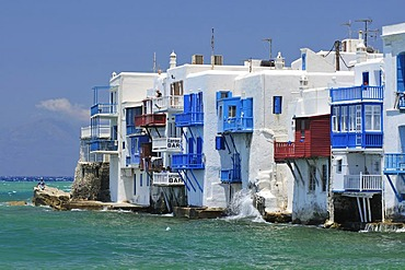 View of Little Venice, Mykonos Island, Cyclades, Greece, Europe