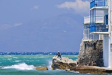 Fisherman near Little Venice, Mykonos Island, Cyclades, Greece, Europe
