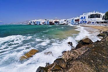 Beach in front of Little Venice, Mykonos Island, Cyclades, Greece, Europe