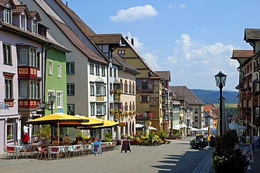 Pedestrian precinct (main street) in the historical town centre of Rottweil, Baden-Wuerttemberg, Germany