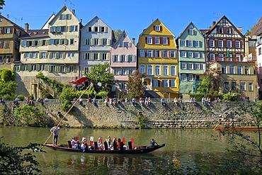 Neckar waterfront, Tuebingen, Baden-Wuerttemberg, Germany, Europe