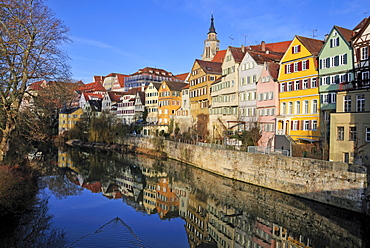 The beautiful Neckar waterfront, Tuebingen, Baden-Wuerttemberg, Germany, Europe