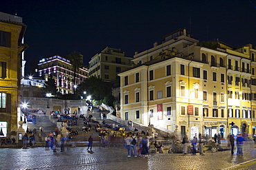 Spanish Steps (Italian: Scalinata della Trinita dei Monti) at night, Rome, Italy, Europe