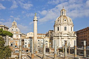 Columns of the Basilcia Ulpia on the Forum of Trajanus in front of ss Nome di Maria Church on Via dei Fori Imperiali, Rome, Italy, Europe