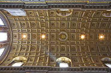 Coffered ceiling of the nave, St. Peter¥s Church, Rome, Italy, Europe