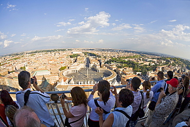 Tourists enjoying the view from the dome of St. Peter¥s Basilica, Rome, Italy, Europe