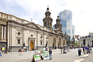 Cathedral and street vendors selling art at Plaza de Armas (all main squares in Chile go by this name), Santiago de Chile, Chile, South America