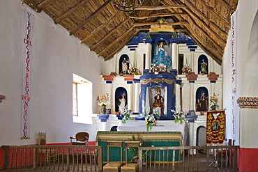 Altar, Iglesia San Pedro church in San Pedro de Atacama, Region de Antofagasta, Chile, South America