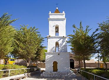 Bell tower, Iglesia San Lucas church (1750), Toconao, Region de Antofagasta, Chile, South America