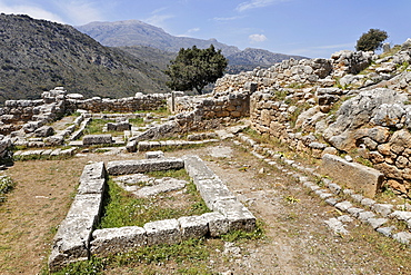 Assembly room ruins dating to the fifth century BC (Doric period) in Lato, Crete, Greece, Europe