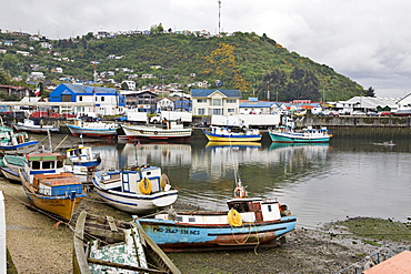 Small fishing boats in the harbour at Puerto Mont, Region de los Lagos, Chile, South America