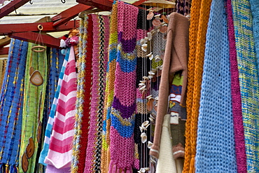 Knitted goods for sale at a handicrafts markets in Puerto Mont, Region de los Lagos, Chile, South America