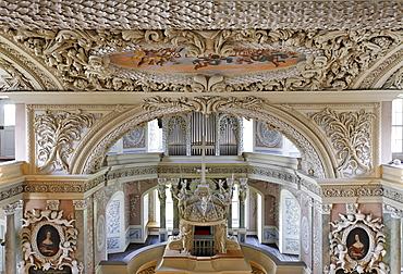 Interior view of the baroque palace church in Eisenberg, Thuringia, Germany, Europe