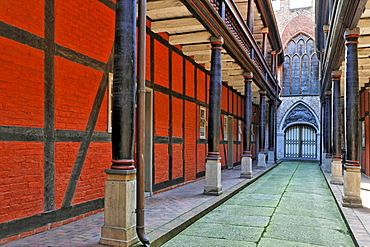 Housing area in the former courtyard of the Heiliggeistkirche (Holy Ghost Church) in Stralsund, Mecklenburg-Western Pomerania, Germany, Europe