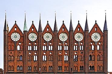 Gothic facade of town hall in Stralsund, Mecklenburg-Western Pomerania, Germany, Europe