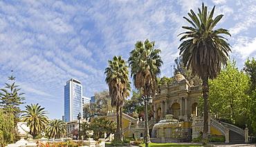View of a high-rise building from Cerro Santa Lucia Park, Santiago de Chile, Chile, South America