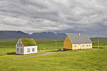 ashus, yellow wooden house, Glaumbaer Farm Museum, northern Iceland, Iceland, Atlantic Ocean
