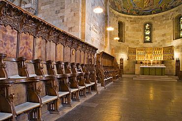 Choir stalls at Lund Cathedral, twelfth-century Romanesque architecture, Lund, Scania, Sweden, Scandinavia, Europe