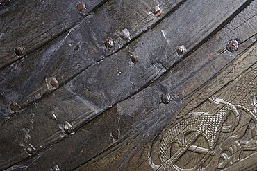 Detail of a ship at the Viking Ship Museum, Bygdoy, Oslo, Norway, Scandinavia, Europe