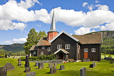 Flesberg Stave Church, built in the twelfth and reconstructed in the eighteenth century, Numedal, Norway, Scandinavia, Europe