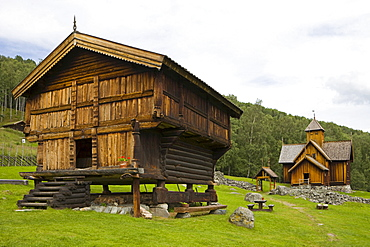 Stave church at the living history museum in Uvdal, Norway, Scandinavia, Europe