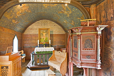Interior of the stave church (12th century) in Undredal at the Aurlandsfjord, Norway, Scandinavia, Europe
