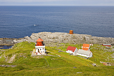 Lighthouse and farm buildings, Runde Island, Norway, Scandinavia, Europe