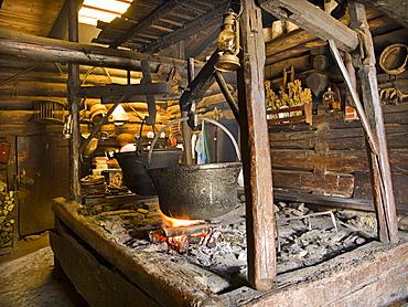 Rustic kitchen, Karseggalm alpine valley, Grossarltal, Salzburg, Austria, Europe