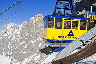 Gondola lift and the peak of Mt. Dachstein in the background, Dachstein Massif, Styria, Austria, Europe