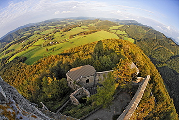 View from the tower of Araburg Castle onto other parts of the castle near Kaumberg, Triestingtal, Lower Austria, Austria, Europe