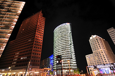 Potsdamer Platz, Potsdam Square at night, Berlin, Germany, Europe