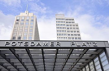 Train station and Beisheim Center entrance, Potsdamer Platz Square, Berlin, Germany, Europe