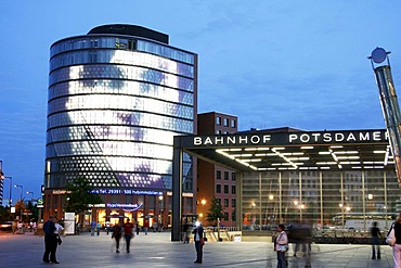 Potsdamer Platz, building with light installation, Berlin, Germany