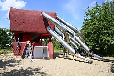 Futuristic giant slide in Buga Park, Potsdam, Brandenburg, Germany, Europe