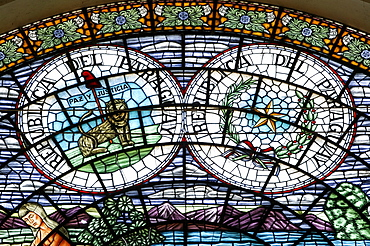 Church of pilgrimage, window pictures, Caacupe, Paraguay, South America