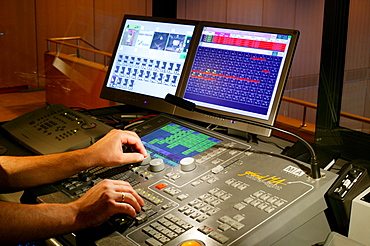 Monitoring desk for sounds and lights