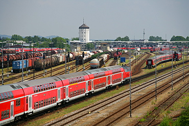 Passenger train and waggon train, Bavaria, Germany
