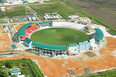 Aerial view of a new stadium under construction in Georgetown, Guyana, South America