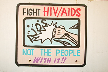 HIV/AIDS sex education posters, Francistown, Botswana, Africa