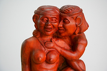 Teak carving, Amerindian lovers, indigenous art, Guyana, South America