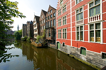 Town houses lining a canal in Ghent, East Flanders, Belgium, Europe