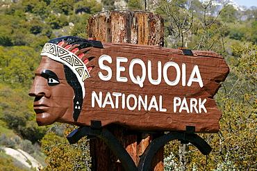 Sign, Sequoia National Park, California, USA, North America