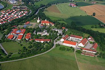 Aerial view, Ecksberg near Muehldorf am Inn, Upper Bavaria, Bavaria, Germany, Europe