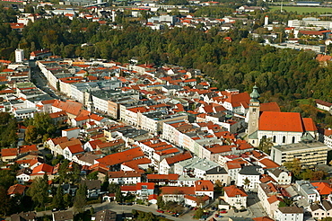 Aerial view of the historic centre of Muehldorf am Inn, Upper Bavaria, Bavaria, Germany, Europe