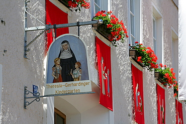 Festively decorated house fronts for the Corpus Christi procession, Muehldorf am Inn, Upper Bavaria, Germany, Europe