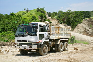 Juggernaut during the building of a refinery and harbour area for the Ramu Nickel Mine, chinese mining company, Basamuk, Papua New Guinea, Melanesia