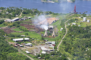 Wood chip factory for the paper industry, Madang, Papua New Guinea, Melanesia