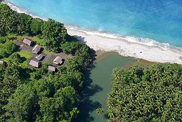 Estuary and settlement, aerial photo between Madang and Goroka, Papua New Guinea, Melanesia