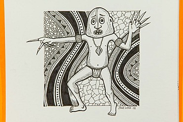 Painting of the artist Jane Wena, Port Moresby, Papua New Guinea, Melanesia