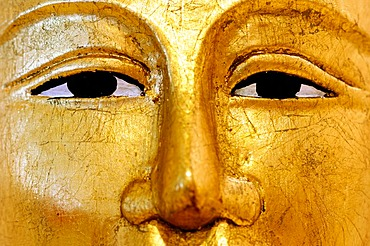 Face of a Buddha statue, detail